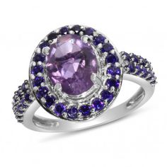 Viola Collection, Sterling Silver Amethyst & Purple CZ Ring