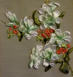 White lilies with orange flowers #ribbonEmbroidery