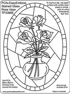 PCA Embossing Parchment Templates TP3376E - TP3400E Stained Glass Rose, Stained Glass Patterns, Parchment Design, Paper Embroidery, Machine Embroidery, Embroidery Designs, Parchment Cards, Butterfly Template, Newspaper Crafts