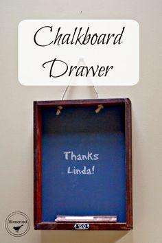 repurposed drawer into a chalkboard www.homeroad.net