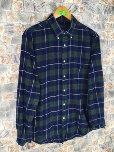 Excited to share this item from my #etsy shop: Vintage 90s John Ashford Flannel Shirt Large Plaid Checkered Green/Blue Casual Buttondown Grunge Buttondown Size L #womenflannelshirt #weddingflannel #90sflanneloversize #thickflannellarge #plaidflannel #menlargeflannel #cherokeeflannel #menflannelshirt #hipsterflannel Mens Flannel Shirt, Plaid Flannel, Shirt Men, Blue Green, Grunge, Button Down Shirt, Men Casual, Cotton, Mens Tops