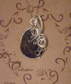 Labradorite Sterling Silver Wire Wrapped Pendant by Ann's Jewelry Collection