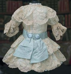"Antique French Aqua Silk & Valenciennes Lace Dress for Jumeau Bru Steiner E.J. Eden Bebe doll about 22-23"" (55-58 cm)"