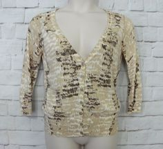 Womens BANANA REPUBLIC Brown Tan Ivory ¾ Sleeve Button Front Cardigan Size Large…
