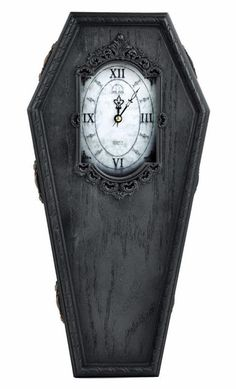 Black Victorian Gothic Coffin Wall Clock Halloween Home Decor Punk Psychobilly