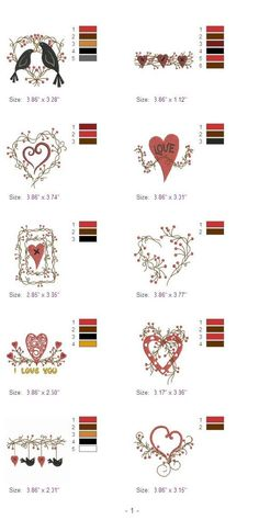 Folk Hearts Vines Love Machine Embroidery Designs by embhome