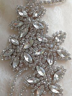 crystal beaded applique for bridal sash, wedding belt by Retrolace on Etsy https://www.etsy.com/listing/210772223/crystal-beaded-applique-for-bridal-sash