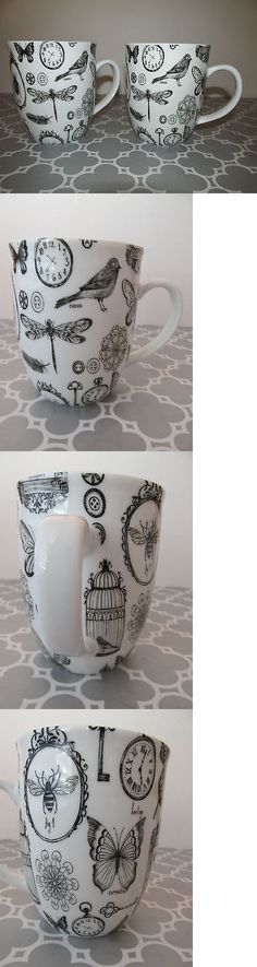 Mugs 20695: New Bird+ Butterfly+ Bug+ Dragonfly Black And White Coffee Mugs Cups Set Of 2 -> BUY IT NOW ONLY: $34.88 on eBay!