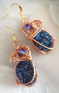 Blue Titanium Drusy Earrings wire wrapped in Copper. $28.00 by Tina Murphy - 2 Cool Creations Jewelry