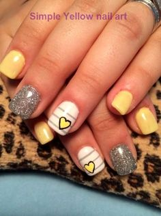 Top 150 ideas for Yellow Nail art designs - Reny styles Yellow Nails Design, Yellow Nail Art, White Nail Polish, Halloween Nail Designs, Halloween Nail Art, Nailart, Nail Decorations, Perfect Nails, Blue Nails