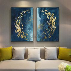 Set of 2 wall art abstract paintings on canvas original ymipainting Gold fishes ocean Sea Navy blue 2 piece wall art heavy texture painting Fantasy Paintings, Cool Paintings, Abstract Paintings, Abstract Art, Abstract Portrait, Portrait Paintings, Acrylic Painting Canvas, Canvas Art, Pop Art