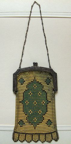 1920s Deco Enamel on Mesh Whiting Davis Bag