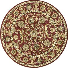 Hand-tufted rug is a welcome addition to any home decor Area rug showcases a traditional design Round rug features red background