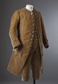 Formal 3-piece suit, c.1770. Brown silk velvet. (costume collection at Ham House, Surrey)