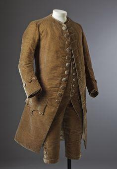 Formal 3-piece suit, c.1770. Brown silk velvet. (costume collection at Ham House, Surrey)