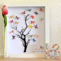 Fly away with me paper tree butterflies framed art unique present Butterfly Tree, Butterfly Wall Art, Butterfly Crafts, Diy And Crafts, Crafts For Kids, Arts And Crafts, Paper Crafts, Box Frame Art, Box Art