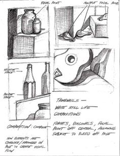 Still life drawing thumbnails. Sometimes it is nice to use words to show your thinking, and remind you of topics when it is time to confer.