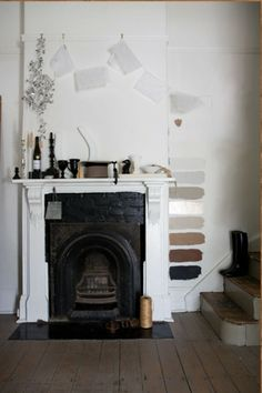 fireplace with color swatches