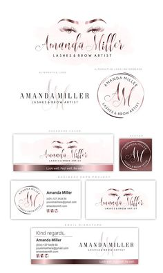 Rose Gold Lash Logo Design Lash Extension Logo Premade