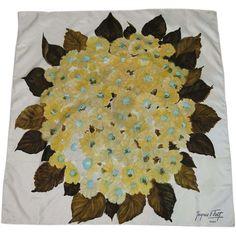 Vintage Jacques Fath Floral Silk Scarf