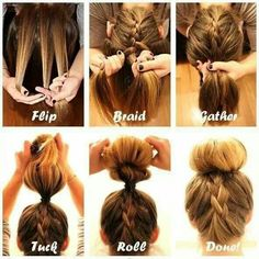 Easy instructions for an upside down French braided bun, if i ever grow my hair out . SO doing this