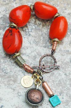 Exotic Orange Tagua Nut, Copper, Brass and Tibetan Coin Charm Bracelet