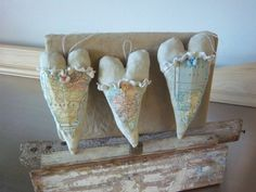 vintage map fabric | Vintage map hearts handmade fabric paper ornaments romantic home decor ...