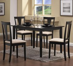 Casual Style Black Dining Room Dinette Set Dining and Kitchen Dining and Kitchen->Dining Room Sets->Breakfast Table and Dinette Sets Contemporary Dining Table, Dining Table Design, Dining Table Chairs, Dining Room Furniture, Modern Furniture, Coaster Furniture, Empire Furniture, Office Furniture, Italian Furniture