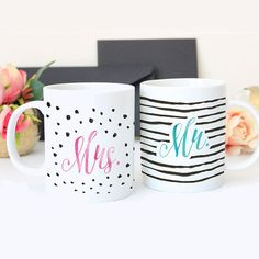 Mr. and Mrs. mugs. Are you looking for a little something to give to your husband or wife? Great gift for newlyweds. Brighten up their morning with trendy designs in ceramic mugs. I also love that eac