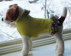Dog Sweater Hand Knit Fleurettes Small 11 inches long by jenya2, $36.99