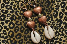 Tribal Heart Earrings, Cowrie Shell Earrings, Valentine Earrings