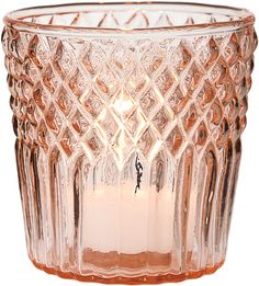 Diamond Top Design Vintage Tealight Candle Holder (3-Inch, Pink) - Wholesale & Bulk | Cultural Intrigue