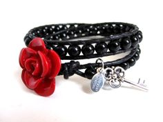 Red Rose Black Onyx and Black Greek Leather by CamBrayahCollection, $35.00