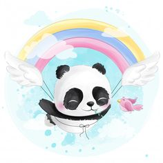 Panda voador fofo com arco-íris Vetor Pr. Cute Panda Wallpaper, Animal Wallpaper, Cartoon Sun, Cute Cartoon, Baby Animal Drawings, Cute Drawings, Panda Wallpapers, Cute Wallpapers, Scrapbooking Image