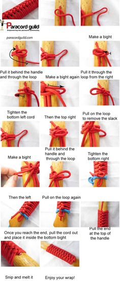 A tutorial on the paracord axe handle wrap. - A tutorial on the paracord axe handle wrap. Axe Handle, Rope Knots, Knife Handles, Paracord Bracelets, Lanyard Knot, Survival Bracelets, Walking Sticks, Crochet, Diy And Crafts