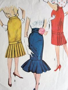 1950s SLIM SKIRTS PATTERNS  DAY or EVENING -- the red one is cute!