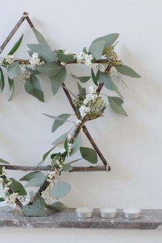 This tutorial calls it a Christmas star wreath but I'm going to go with a Star of David wreath