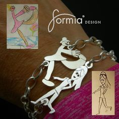 Handmade sterling silver sports bracelet includes a one inch charm replicating your own artwork. Charm is attached at both ends so it's comfortable to wear throughout your very busy day. Simply upload your favorite drawing to get started! http://www.formiadesign.com/product/sports-bracelet/
