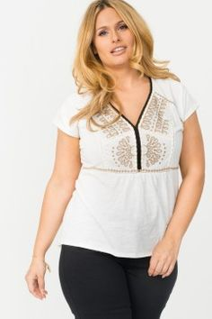 Embroidered Top With Rounded Hem