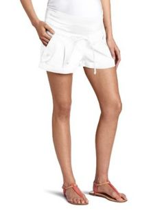 Jules & Jim Women's Maternity Fashion Shorts With Cord, White, Small
