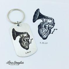 Customer's Original Artwork #engraved on a #keychain #art #heart #originalartwork #victrola #originaldesign #handdrawn #cool #awesome #oneofakind #key #anniversarygift #drawing #artistsoninstagram #giftideas #steampunk #vintage #handmade #etsy #etsyshop