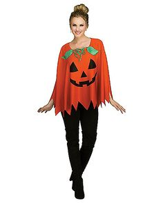 Adult Pumpkin Poncho - Spirithalloween.com