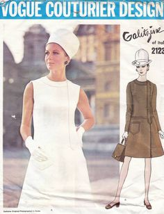 60s Vogue Couturier design Galitzine dress sewing pattern 2123 bust 36 inches, A-line dress