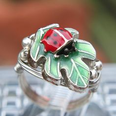 Sweet Enameled Lady Bug Ring Set In Silver Sizes 5 - 11.5