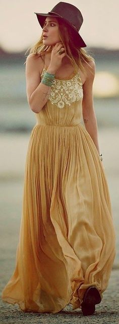 Black Hat, Yellow With White Embroidery Maxi Dress   Desert Boho   Fast Food And Fast Fashion