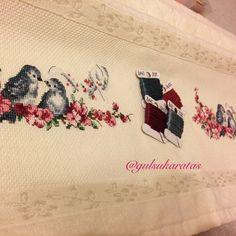 Kanaviçe havlu, etamin, kuş, cross stitch