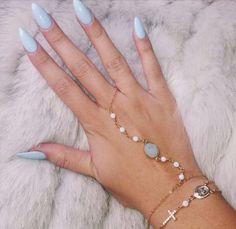 Light Blue Almond Acrylic Nails w/ Hand Jewelry