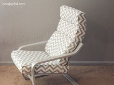 Nursery: Ikea poang chair recover   How Joyful.  I wish I had the know-how to do a makeover like this!
