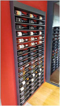 Use a single of such cost free DIY beer probe tactics to build a wine shelf specifically for your home or office or perhaps even something. Wall Hanging Wine Rack, Wine Wall, Home Wine Cellars, Wine Rack Storage, Wine Cellar Design, Wine Shelves, Wine Display, Wood Wine Racks, Italian Wine
