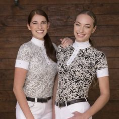 The Equi-Theme Baroque Short Sleeve Ladies Competition Shirt is a stylish show shirt in stretch fabric with baroque design.
